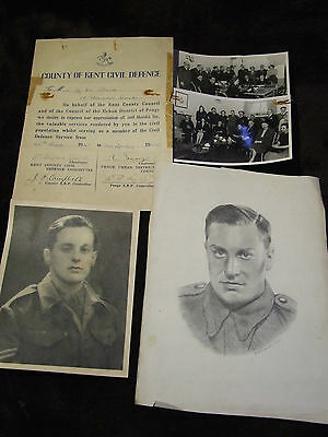 Original WW2 Penge Civil Defence Certificate of Service and Photos