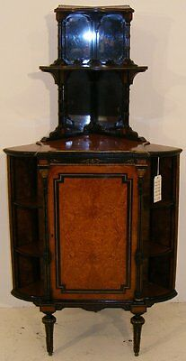 Good Quality Antique Walnut & Ebonised Corner Cabinet