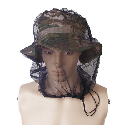 Outdoor Camping Mosquito Bug Mesh Head Face Protect Net - Black