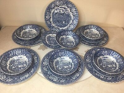 Vintage H Aynsley Blue & White Ironstone Hunting Scenes Dinner Service Lovely