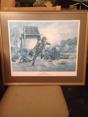 """Peter Archer WW2 Print """"Go To It Framed Dated 1982"""