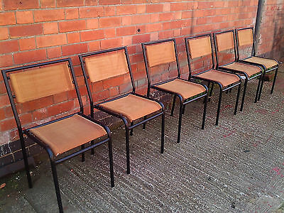 Retro Stacking Chairs - Vintage - Steel Tube - Canvas- Dining