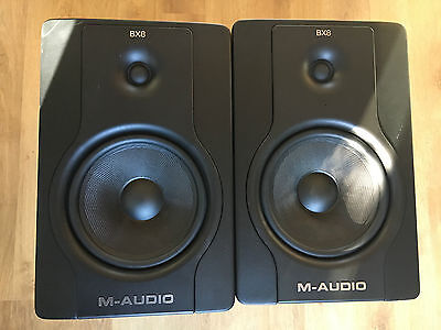 M Audio Bx8 D2 Active Speaker Monitor Pair Cables Inc Working Free P&p