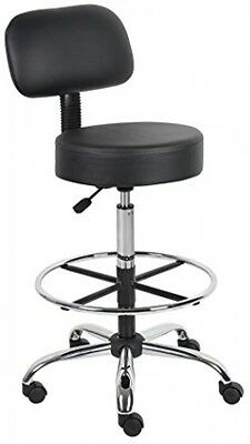 Drafting Stool Back Seat Cushion Adjustable Black Chair Medical Office Support