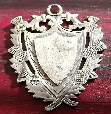 Antique / Vintage Solid Sterling Silver Shield Fob