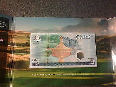 Strictly Limited Edition Royal Mint 2014 Ryder Cup Commemorative £5 banknote