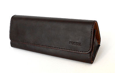 Nwt Fossil Sunglasses Leather Fold Case, Logo, Dark Brown
