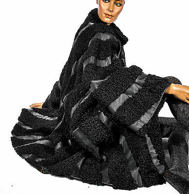 3XXL  Persianer Pelzmantel persian LAMB fur coat black gestreift Leder striped