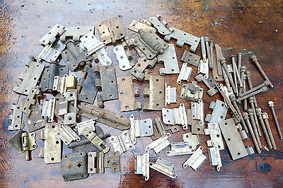 Lot Assorted Hinges Hardware Architectural Salvage Cabinet Door Latch Vintage