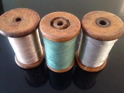3 Vintage Antique Industrial Wooden Bobbins Reels with Thread, Gold Silver Green