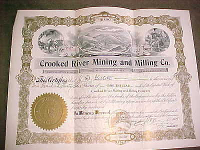 stock certificate CROOKED RIVER MINING AND MILLING CO. 1905 IDAHO