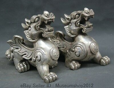 """10"""" Chinese silver fengshui exorcise evil spirit Fly Pixiu Dragon Beast statue"""