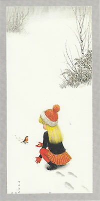 Happy Christmas Vintage 1970's Greeting Card - Merry First Snow Robin Red Breast