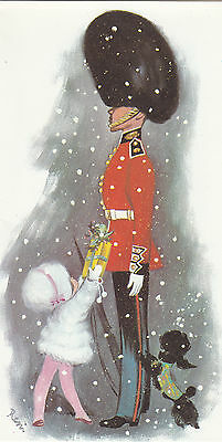 Happy Christmas Vintage Greeting Card  - Merry London Beefeater Queens Guard