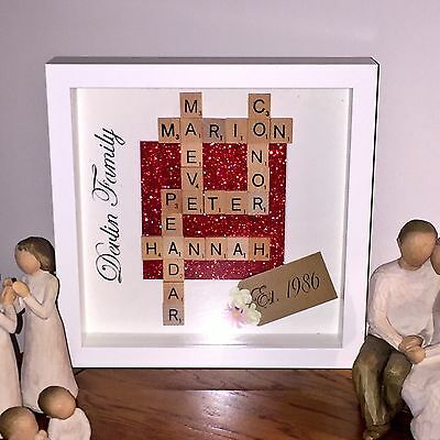 Personalised Scrabble Family Frame Wedding Birthday Christmas Home Gift Keepsake
