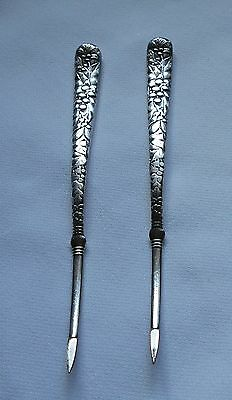 Antique Aurora Silver plate Nut Picks-pair