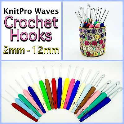 KnitPro Waves Aluminium Crochet Hooks With Soft Coloured Grip Handle 2mm-12mm