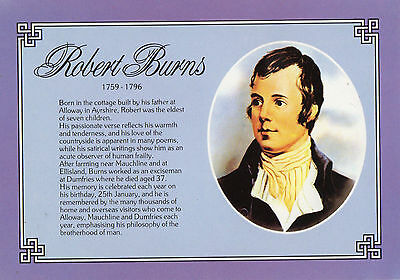 OLD POSTCARD - Robert Burns - picture and information - Dennis