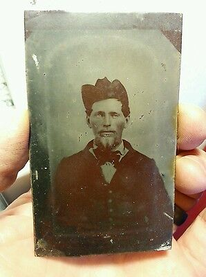Tintype of possible Civil War soldier. Unusual hat. Cdv size.