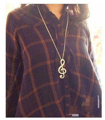 Music Note Gold Coloured Pendant Long Chain Necklace (N092)