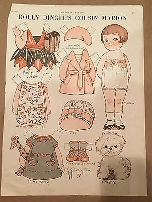 Uncut Vintage 1929 Dolly Dingle's Cousin Marion & Comfy Paper Doll Drayton Page