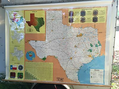"""Cram Texas Pull Down Map 68"""" x 48"""" With Mounting Bracket AG40"""