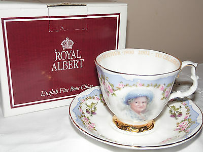 SUPERB ROYAL ALBERT QUEEN MOTHER CELEBRATION OF LIFE Cup and saucer (103A) boxed