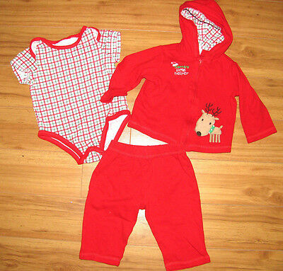 Baby Boys Girls 12 month size Christmas Outfit Red 3 pc set Santas Little Helper