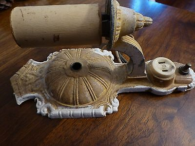 Ornate Antique Wall Sconce w Switch; for Vintage Restoration; Light, Fixture,