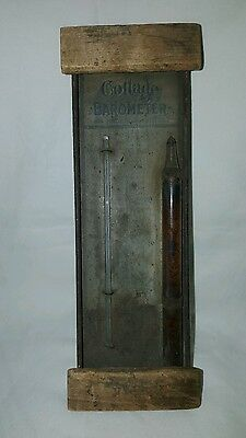 Antique Cottage Barometer Thermometer