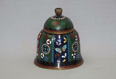 Antique Japanese Cloisonne Scalloped Round Inkwell w Porcelain Ink Liner