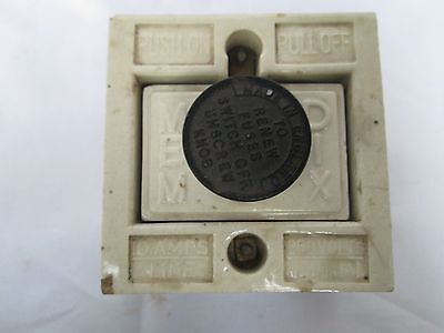 Vintage White Porcelain On/Off Fuse Main Switch Working Condition England Made