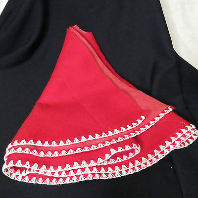 Vintage Red Flannel Christmas Tree Skirt with White border