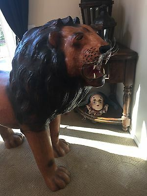 Vintage Life Size 7' Lion King Statue Sculpture Figure Glass Eyes Carousel Prop