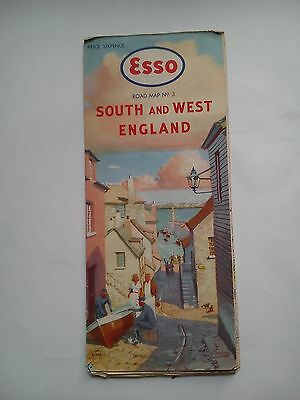 Vintage early 1950's Esso Road Map Section 3 South and West England