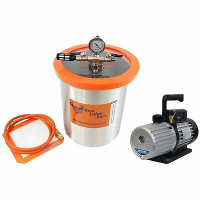 Best Value Vacs 3 Gallon Stainless Steel Vacuum Chamber and Mastercool 6CFM Vacu