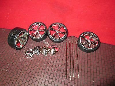 "1 SET of 1/18 wheel for custom dub 24"" wheels and tires for diorama customize #1"