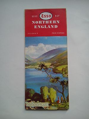 Vintage 1960 Esso Road Map Section 5 Northern England