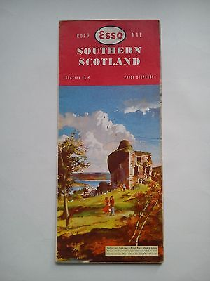 Vintage 1960 Esso Road Map Section 6 Southern Scotland