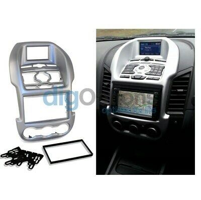 -For Ford Ranger 2011-15 PX MK1 Facia Fascia Stereo Surround Silver Car Dash Kit