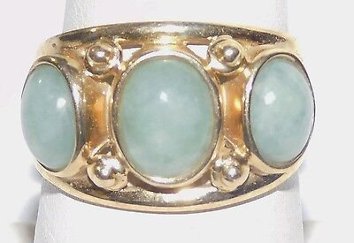 Estate Solid 14k Yellow Gold Jade Cabochon Ring Size 8