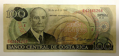 1987 Costa Rica Currency - 100 Colones Banknote (Serial # E42441268)