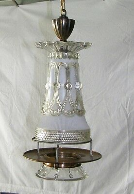 Vintage Brass Clear & Frosted Glass Swag Hanging Light Lamp Fixture