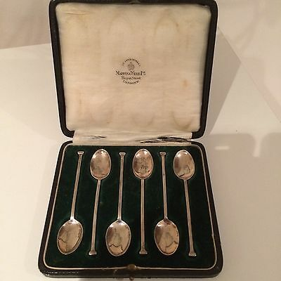 Stunning Cased Set NAIL TOP Solid Silver Teaspoons Mappin & Webb