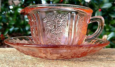 Federal Glass Sharon Cabbage Rose Pink (1) Set of  Cup & Saucer