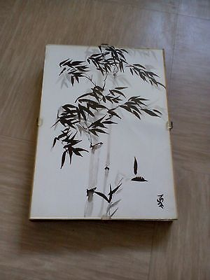 vintage Chinese ink painting on paper signed title Palm