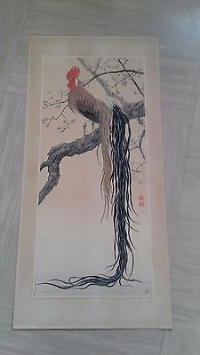 antique Japanese wood block print or painting? with seals , one on back