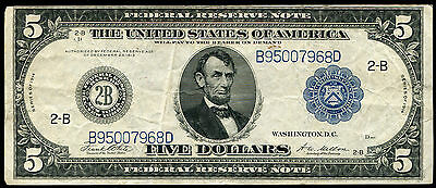"FR. 851c 1914 $5 FIVE DOLLARS FRN FEDERAL RESERVE NOTE ""TYPE C"" VERY FINE+"
