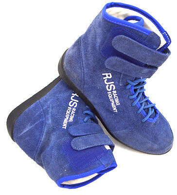 Rjs Racing Sfi 3.3/5 Racing Shoes Solid Blue High Top Size 6 Kart Jr Dragster