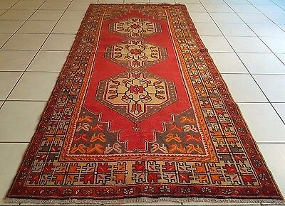 Oriental Tribal Vintage Hand Knotted Red Turkish Oushak Rug, 3'10''x8'7'' Carpet